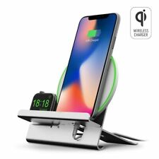 2in1 Aluminum Qi Wireless 10W Fast Charger Dock Stand For Apple Watch and iPhone