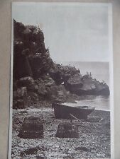 Vintage Postcard Posted 1930? Unposted Stamp Beach Sea Cliffs Birds Boats Pots a