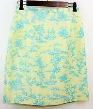TALBOTS 100% Silk Yellow & Teal Straight Skirt - Chinese Scenic Print - SIZE 6 P