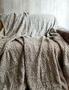 organic linen blanket Coverlet bedspread throw natural beige grey King size