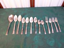 13pc WM Rogers Floral Designed Handle Silverplate Flatware Set