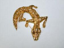 Huge Gecko Lizard Caiman Gold tone Pin Brooch 11k 77
