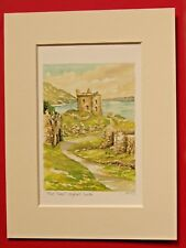 URQUHART CASTLE LOCH NESS SCOTLAND CHARMING MOUNTED WATER COLOUR PRINT 8X6 NICE