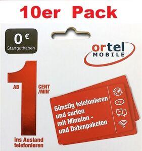 10Stk. Ortel Prepaid SIM Karten mit 0€ Gebraucht