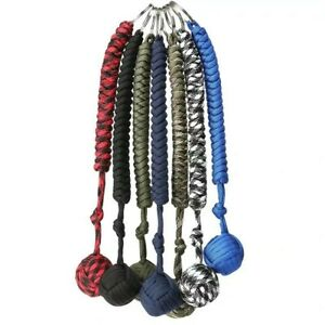 With Steel Ball Black Paracord Monkey Fist Hiking Strength Outdoor Keychain