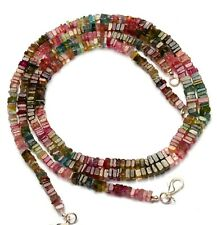 """Natural Gem Brazil Tourmaline 5.5MM Size Smooth Square Heishi Beads Necklace 19"""""""
