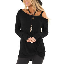 Womens Autumn Long Sleeve One Shoulder Casual T shirt Ladies Knotted Tops Blouse