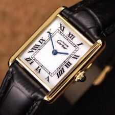 Authentic Must De Cartier Tank Argent Gold Plated Manual Mens Wrist Watch