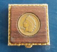 Vintage Gold Tone Warrior Head Coin Wood Pill Box
