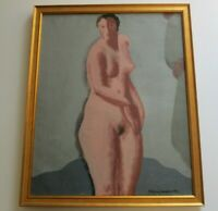 Edgar Louis Yaeger  (1904 - 1997)  PAINTING  NUDE WOMAN MODERNISM FRENCH ANTIQUE