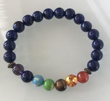 UK. Beautiful Lapis Lazuli Chakra Gemstone Beaded Bracelet. 3rd Eye.  Wisdom