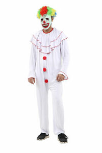 NEW LADIES MEN VINTAGE CLOWN COSTUME HALLOWEEN KILLER SCARY FANCYDRESS PENNYWISO
