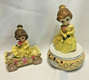 PRECIOUS MOMENTS DISNEY Belle Music Box Plays Beauty & the Beast AND Birthday 5