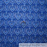 BonEful FABRIC FQ Cotton Quilt Blue Silver Metallic Heart Flower Damask Stripe S