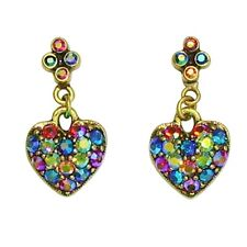 Sweet Romance Aurora Multi-Colored Crystal Heart Post Earrings *Made in USA*