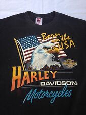 Vtg Harley Davidson Motorcycle T Shirt Born In The Usa Eagle July 4Th America