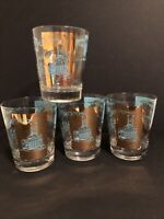 4 Vintage Libby Southern Comfort Highball Glasses Gold & Blue Steamboat Cocktail