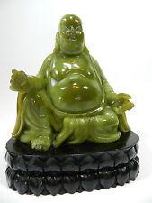 Vintage Sitting Buddha On Lotus Flower Jade Color