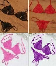 Lace Crotchless Thong & Peephole Bra Set Size 8 Lots of colours ouvert string