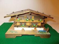 "Vintage Swiss Cuendet Wooden Chalet House Music Box ""Lara's Theme-Dr. Zhivago"