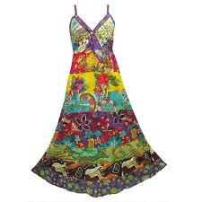 Peasant Boho Hippie Tier Patchwork Spaghetti Strap Long Dress  Y0076