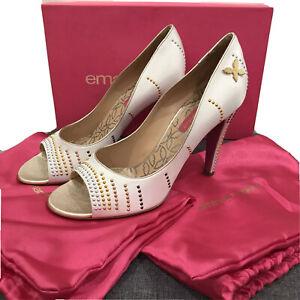 New EMANUEL UNGARO Paris Designer Womens White Satin Studded Heels Shoes 40 9