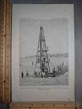 Rare Antique Original VTG 1891 Calais Docks Quay Build Photogravure Art Print