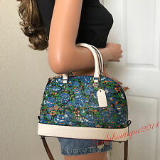 NWT COACH BLUE COATED CANVAS WHITE LEATHER SHOULDER BAG CROSSBODY SATCHEL PURSE