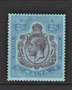 MALTA. 1922. GV 2/- PURPLE & BLUE / blue DEFINITIVE. MSCA. LMM. Sg.103