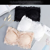 Women's Lace Bandeau Seamless Padded Tube Tops Casual Strapless Crop Top Bra