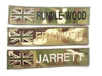 MTP SUBDUED UNION JACK MILITARY NAME TAPE or ZAP BADGE DETAILS TRF ID ARMY SAS