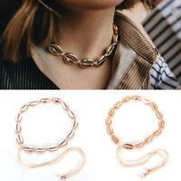 Women Fashion Beach Sea Shell Cowrie Pendant Gold Choker Necklace Jewelry Gifts