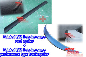 Painted BMW 07-13 E82 1er Coupe roof spoiler + performance type trunk spoiler ◎