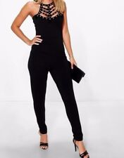 4b82af118aa NEW Boohoo Kate Eyelet Velvet Detail Skinny Leg Jumpsuit UK Sizes 8-14