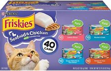 Purina Friskies Canned Wet Cat Food Seafood & Chicken Pate Variety Pack 40 cans