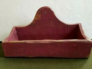 AAFA Country Primitive Farmhouse Wall Pocket Candle Box Faded Red Paint