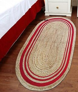 Rug 100% Natural Jute handmade Reversible oval Rug modern living area carpet rug