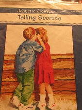 CROSS STITCH KIT JEANETTE CREWS TELLING SECRETS GIRL&BOY WHISPERING #1244-15-K