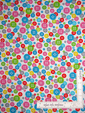 Sewing Theme Multi Color Buttons White Cotton Fabric Studio E Sew Much Fun YARD