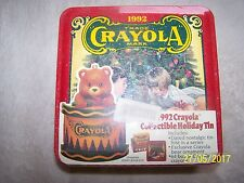 1992 set of 64 crayola crayons in collectible tin still wrapped in plastic