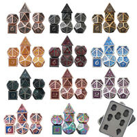 7pcs/set Metal Dice Set RPG MTG DND Polyhedral Dice Role Playing Games With BOX