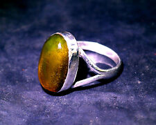 Beautiful Natural Clear Orange Green Amber .925 Sterling Silver Ring #9