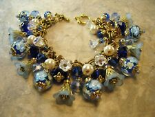 Statement Glass Charms Bracelet Vintage M Haskell Chain Blue Floral Lampwork