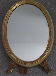 1800s Antique White Gold Wooden Ladies Oval Vanity Dressing Table Mirror