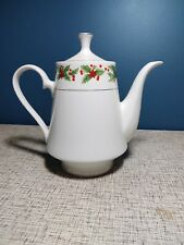 Christmas Tea Coffee Pot Porcelain Lynns White with Christmas Holiday design