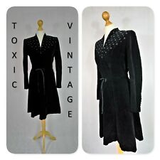 VINTAGE 1970s 1980s BLACK VELVET EMBELLISHED TEA DRESS 10. GLAM RETRO PAGAN GOTH