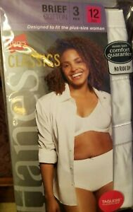 Pack of 3 Women White Brief hi cut by Hanes size12