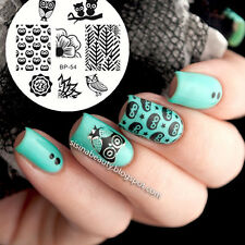 BORN PRETTY BP54 Nail Stamping Template Image Plate Nail Art Stencil Owls Flower