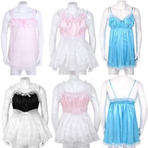 Mens Sissy Tulle Dress Elastic Frilly Ruffled Lace Babydoll Lingerie Satin Skirt