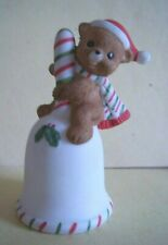 "Lefton China Christmas Bell - 3.5"" Bell w/Teddy Bear in Santa Cap on Handle -"